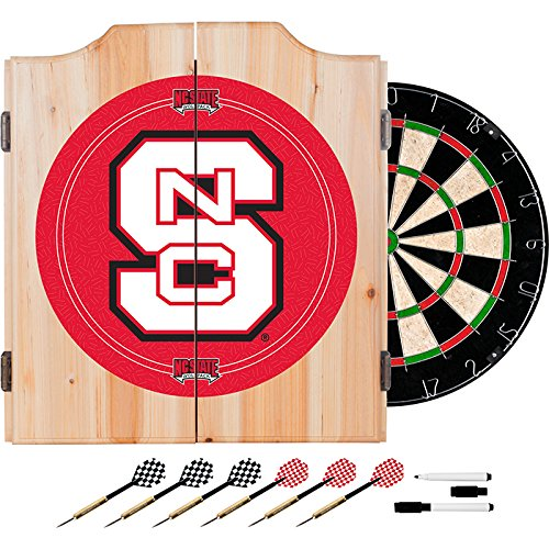 North Carolina State University Deluxe Solid Wood Cabinet Complete Dart Set - Officially Licensed! by TMG