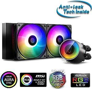 DeepCool Castle 240 RGB V2 Cooling System Anti-Leak Radiator 240mm Liquid Heatsink RGB Rainbow Addressable 5V ADD RGB 3-Pin Compatible Intel 115X/2066 and AMD TR4/AM4