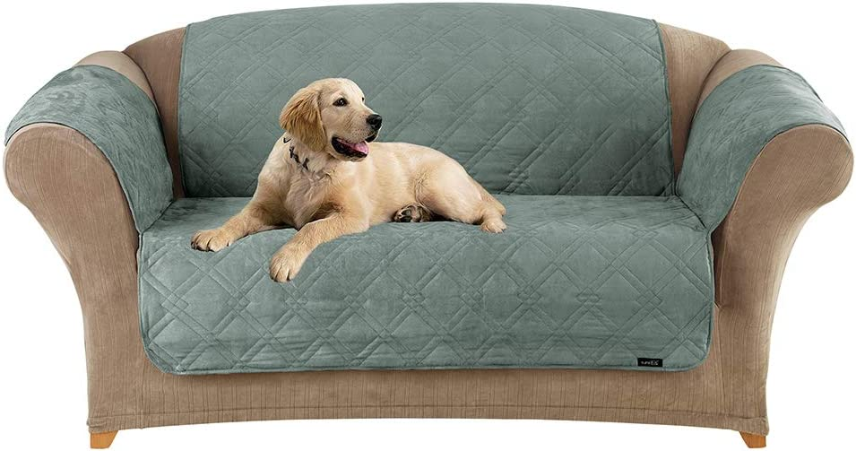SureFit Home Decor Microfiber Pet Loveseat One Piece Quilted Furniture Throw Cover, Relaxed Fit, Polyester, Machine Washable, Sea Glass Color