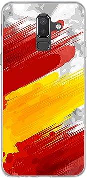 BJJ SHOP Funda Transparente para [ Samsung Galaxy J8 2018 ], Carcasa de Silicona Flexible TPU, diseño: Bandera españa, Pintura de brocha Sobre Fondo Abstracto: Amazon.es: Electrónica