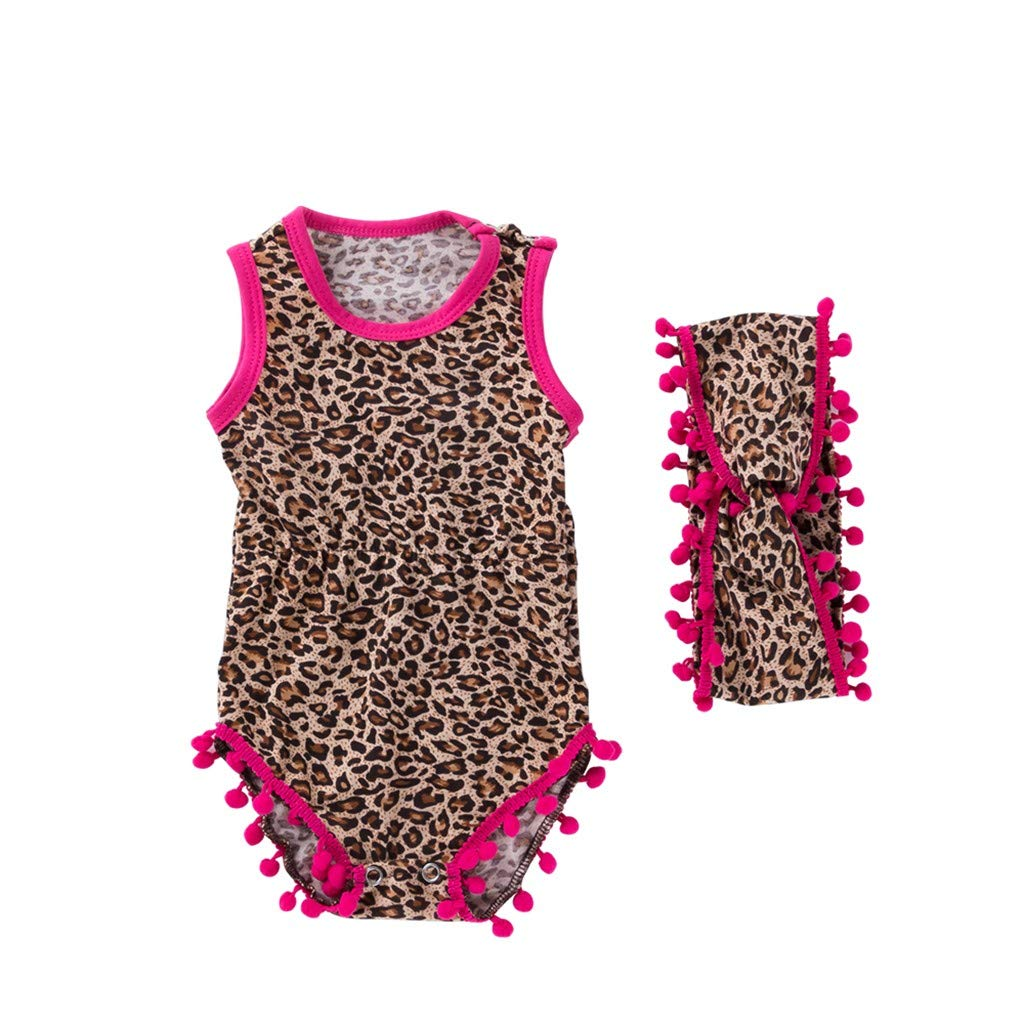 NUWFOR Toddler Baby Sleeveless Leopard Print Shell Romper+Headbands Set Outfit(Multicolor,0-3 Months)
