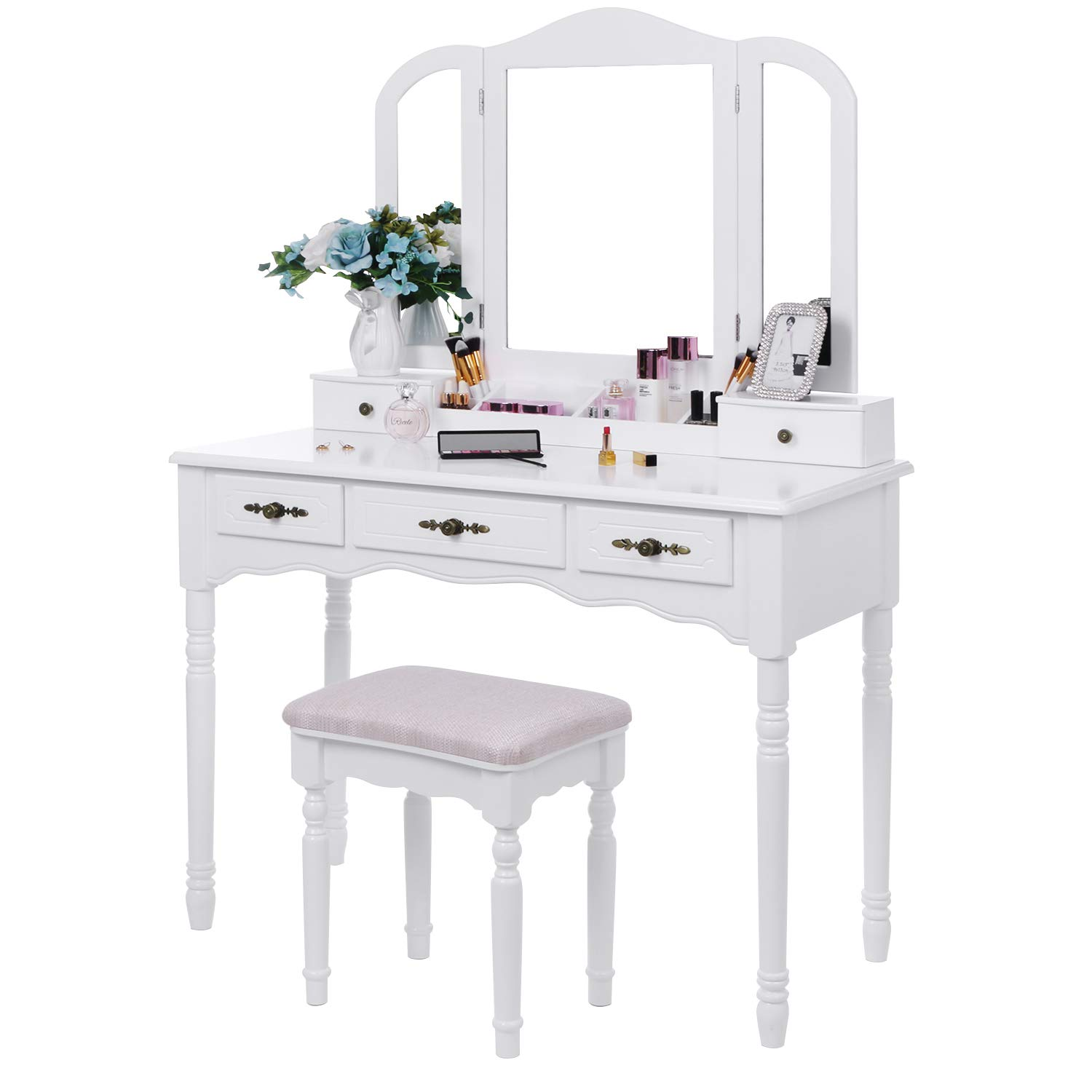 BEWISHOME Vanity Set Makeup Dressing Table and Cushioned Stool, Large Tri-Folding Mirror, 5 Drawers, 2 Dividers, Desktop Makeup Organizer Makeup Vanity Desk for Girls Women White FST06W by BEWISHOME
