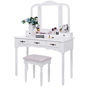 Amazon.com  BEWISHOME Vanity Set Makeup Dressing Table and Cushioned ... c2ec8e1164