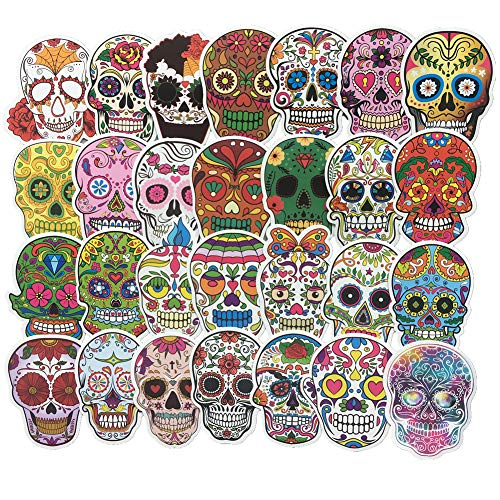 Homyu Stickers Colorful Skull Decals 60-Pcs for Laptops Motorcycle Portable Luggages Ipad Laptops Waterproof Sunlight-Proof ()