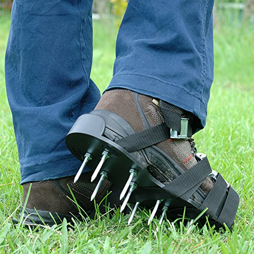 Premium Nylon Heavy Duty Lawn Aerator Shoes - 4 Adjustable Straps and Metal Buckles - Nylon Aerating Sandals with Zinc Alloy Buckles - Extra Spikes and Bonus Wrench Included by Gardenite (Image #1)