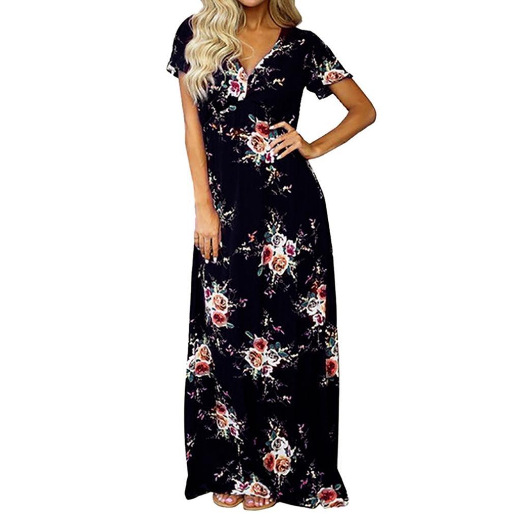 OVERDOSE Damen Maxi Boho Floral Sommerkleid Strandkleid Langes Abendkleid