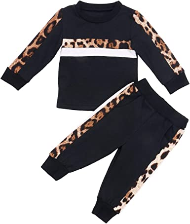Bebé Chándal 2 Piezas Conjunto de Ropa Deportiva para Niñas Pequeñas Sudadera sin Capucha con Manga Larga Pantalones Largos con Estampado de Leopardo: Amazon.es: Ropa y accesorios