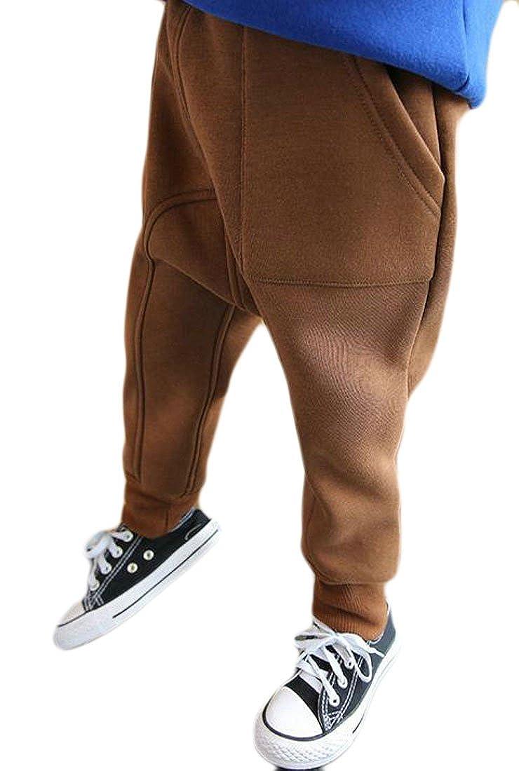 Pivaconis Boys Fashion Sport Solid Fleece Elastic Waist Jogger Pant Brown 6//7T