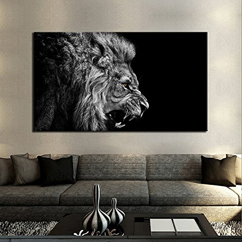 Black And White Authority Lion Head Portrait Wall Art Painting Pictures Print On Canvas HD Animal Art Work For Living Room Home Modern Decoration (Masterpiece Magazine Rack)