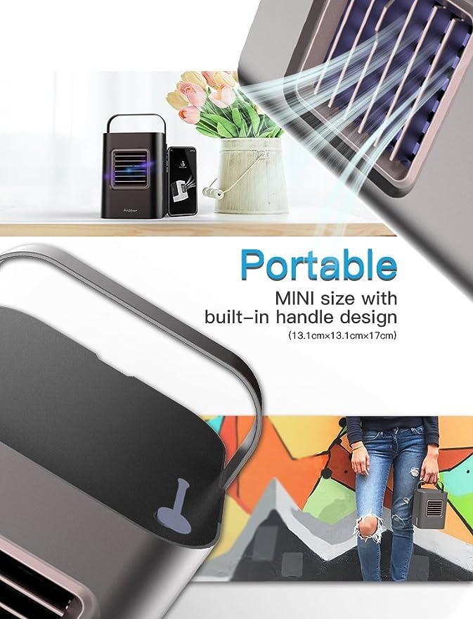 Aire Acondicionado Móvil, Anbber 4 en 1 Mini Ventilador Humidificador Purificador de Aire Personal USB Climatizador ...