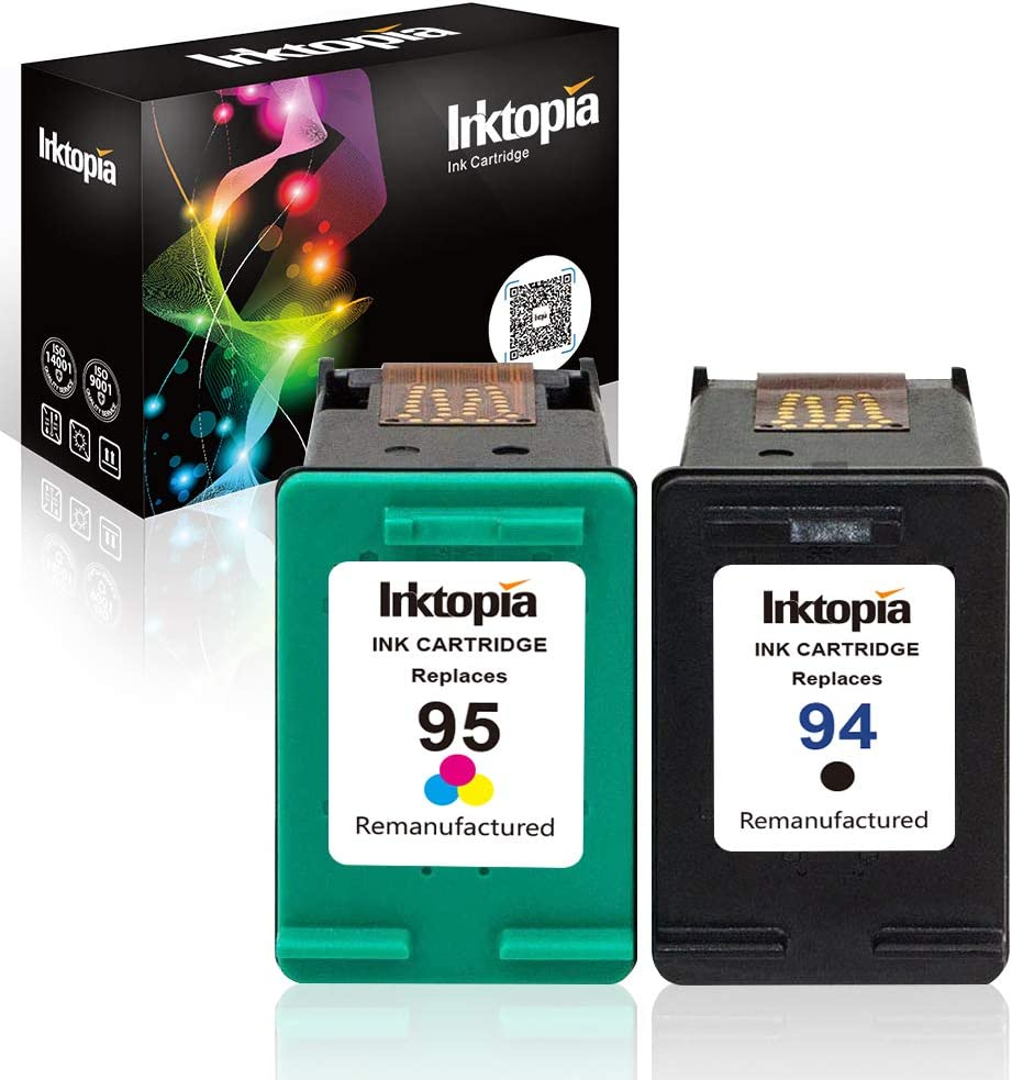 Inktopia Remanufactured Ink Cartridges Replacement for HP 94 and HP 95 C9354BN C8765WN C8766WN for HP Officejet 150 100 H470 9800 7310 7210, Deskjet 460, PSC 1610 2355, 2 Pack (1 Black, 1 Tri-Color)