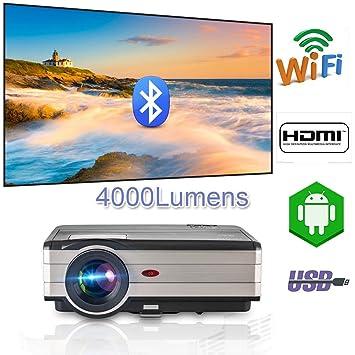 Android WiFi Proyector Airplay Bluetooth,Proyector de Video inalámbrico 4000 lúmenes 1080p HDMI HD Proyector de Inicio para iOS Android teléfono ...