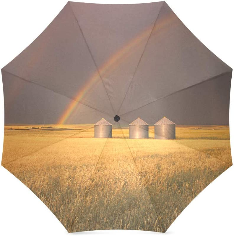foldable Umbrella Custom Under The Rainbow Golden Wheat Fields Compact Travel Windproof Rainproof