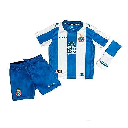 KELME RCD Espanyol Primera Equipación 2018-2019 Niño, Conjunto, Azul-Blanco,