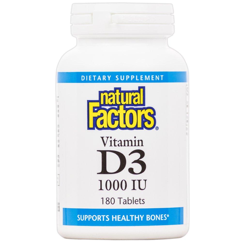 Natural Factors - Vitamin D3 1000 IU, Supports Healthy Bones, 180 Tablets