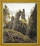 """The Rock Gates in Neurathen by Caspar David Friedrich - 15"""" x 19"""" Framed Premium Canvas Print"""