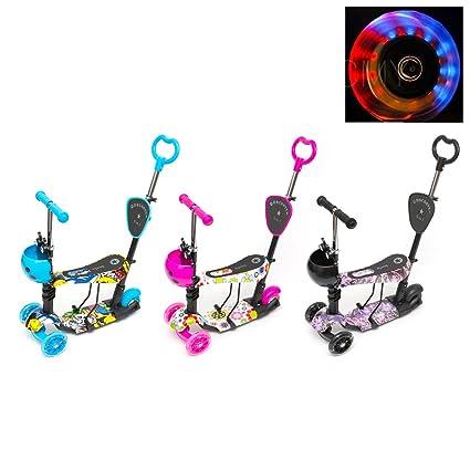 CMY - Patinete con Ruedas Intermitentes LED con Asiento extraíble 5 en 1 para bebé, 3 Ruedas, Mini Patinete con Manillar Ajustable, para niños y niñas