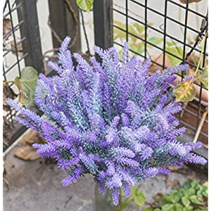 DiDaDi 4 Pcs Artificial Flowers Flocked Lavender Bouquet Romantic Fake Lavender Bunch in Purple Artificial Plant for Home Wedding Garden Decor 4