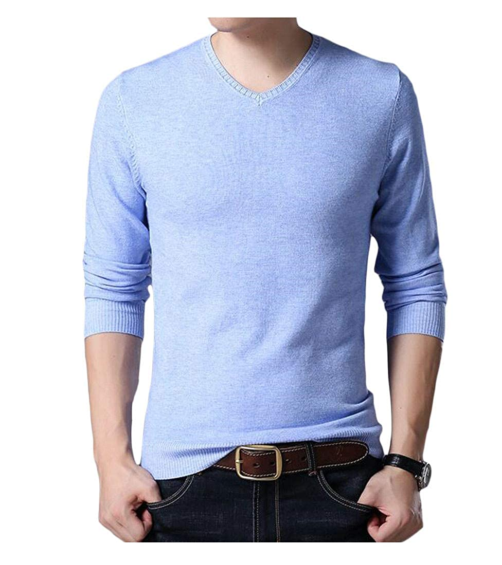 Lutratocro Mens Long Sleeve Stretch Wool Jumper Knit Pullover Sweater