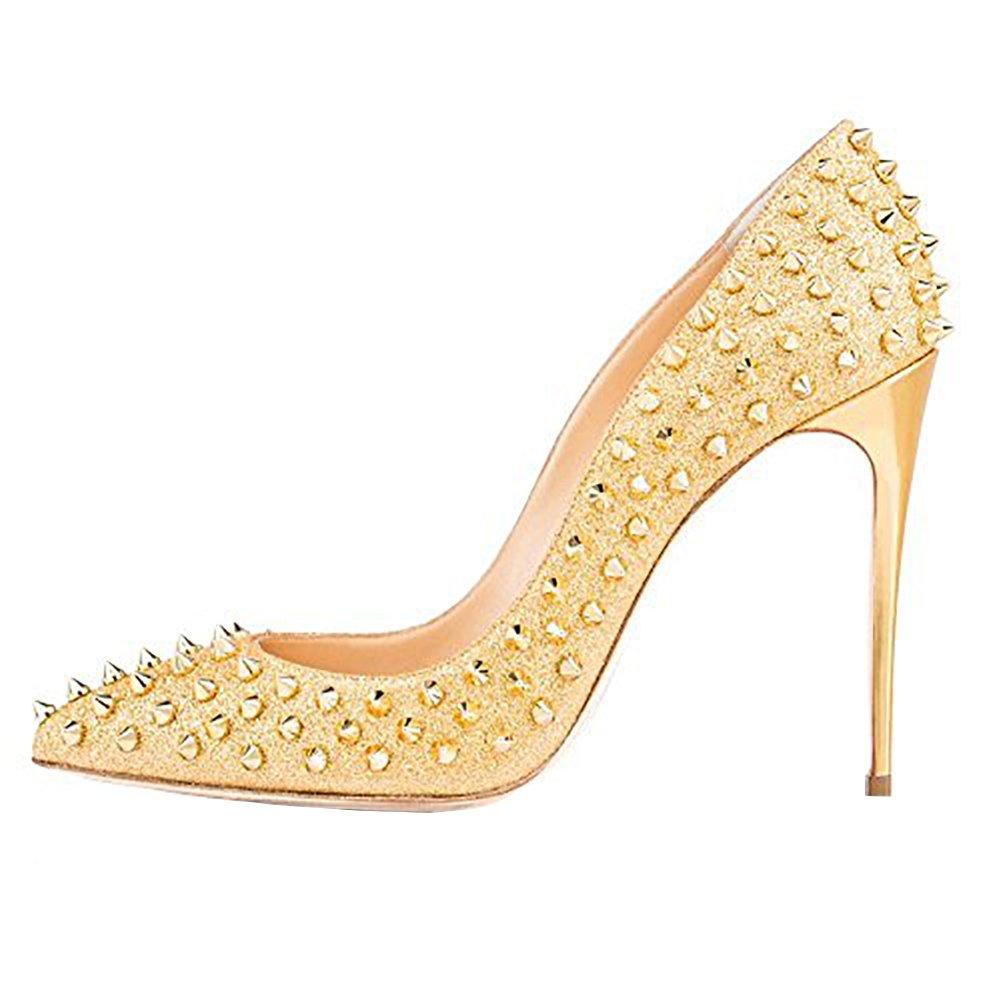 Vaneel Mujer Cmnkoj Tacón De Aguja 12CM Sintético Ponerse Zapatos de tacón 43.5 EU|Amarillo