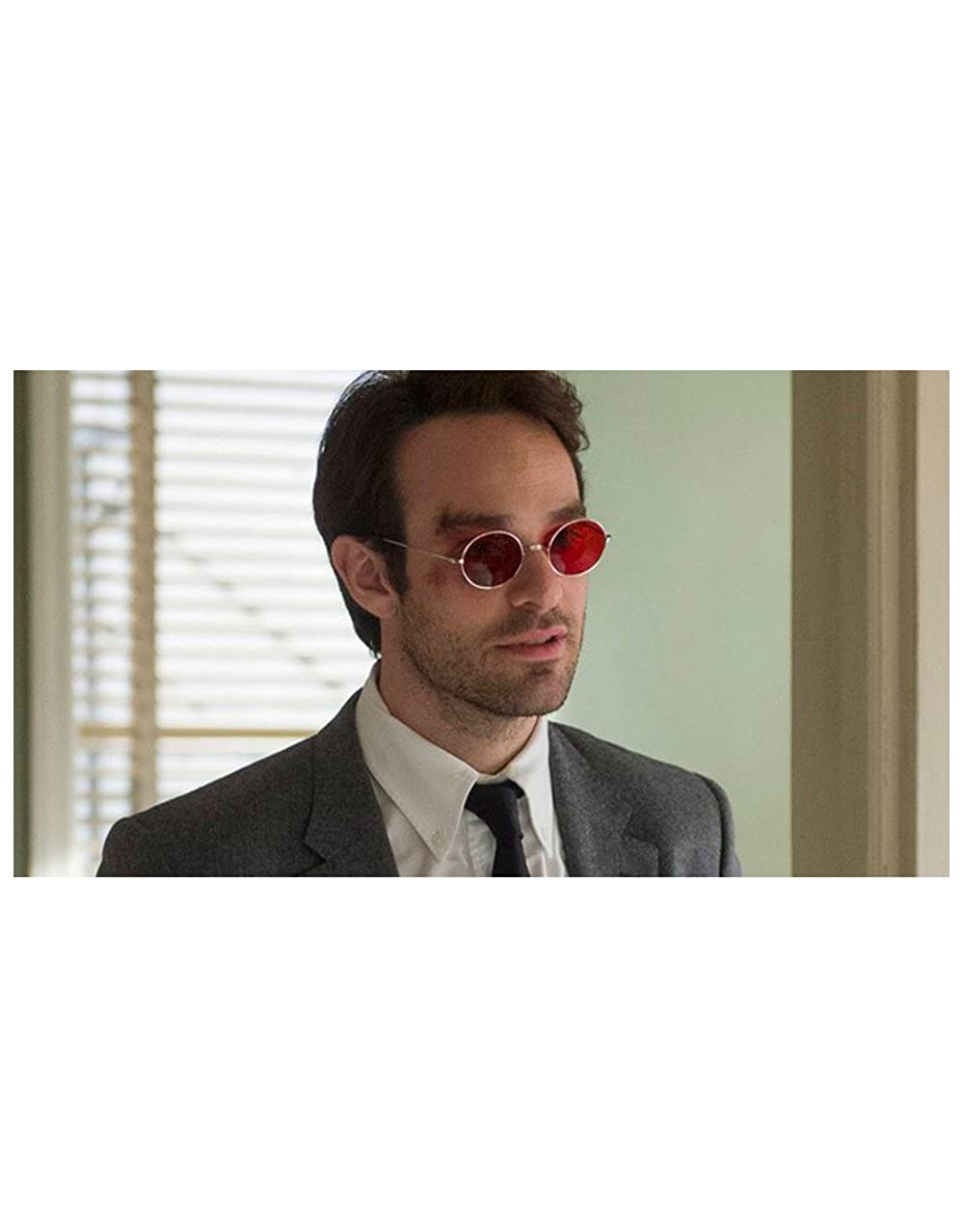 Stile Daredevil Teashade occhiali da sole Rosso lente cornice dArgento
