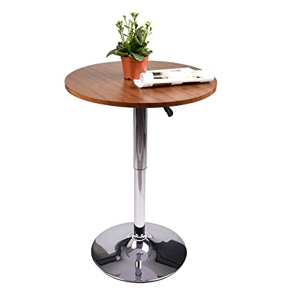 Amazon 35 inches round bar table adjustable height chrome metal 35 inches round bar table adjustable height chrome metal and wood cocktail pub table mdf top watchthetrailerfo