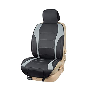 Basics Deluxe Sideless Universal Fit Leatherette Seat Cover, Black with Gray Accent: Automotive