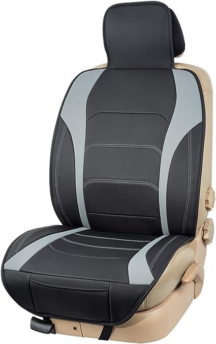 Basics Funda Deluxe de asiento de cuero sint/ético de ajuste universal sin laterales negro con l/íneas rojas