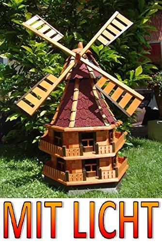 1,4 m, WMB140ro-MSWindmühle, edelrot ROT dunkelrot ,Windmühlen aus Holz braun mit Licht Solar Licht