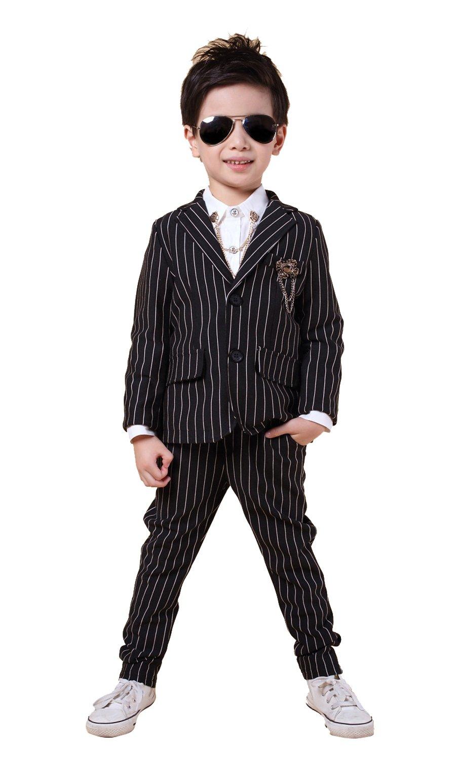 Boys Pinstripe Suits Separated Blazer & Pants 2 Pieces Black & White 2 Colors (8, Black)