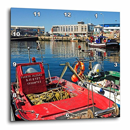 3dRose dpp_46057_3 Traditional Fishing Boats Fishing Port Vigo, Galicia, Spain-Wall Clock, 15 by 15-Inch by 3dRose