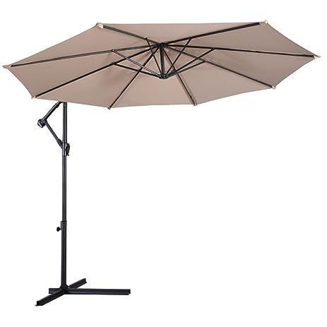 AMT 10 Feet PA Coating Waterproof Cantilever Hanging Patio Umbrella, Beige