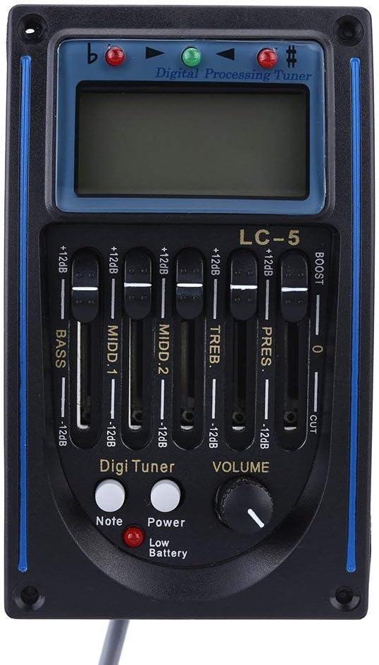 Andoer® EQLC-5 5-Band Guitarra Sistema EQ Ecualizador Acústico Preamp Piezo Pickup LCD Tuner Pantalla