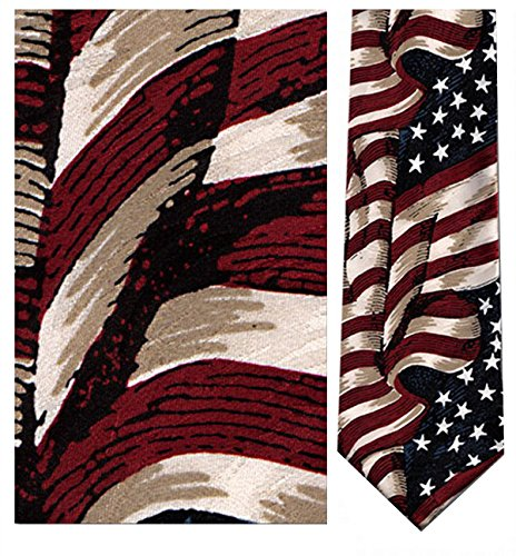 Museum Artifacts Large Waving American Flag Silk Tie Necktie