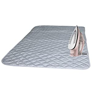 "Instant Ironing Board for Small Space Living! 33 x 19"" Quilted Magnetic Ironing Mat Transforms Any Metallic Surface into an Ironing Board. Use on Top of Washer/Dryer or Any Flat Space!"