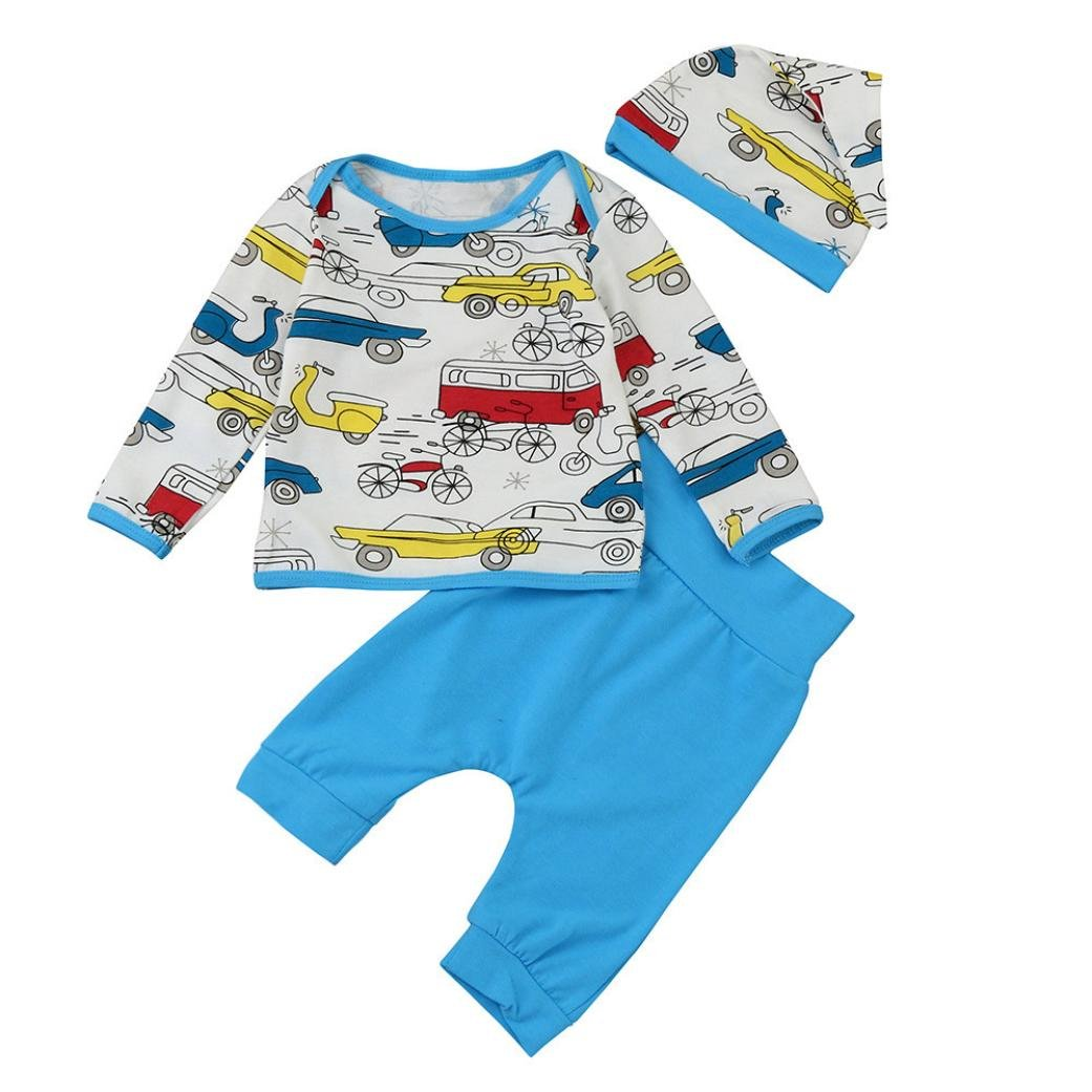 DIGOOD Newborn Kids Baby Girl Boy Outfit Clothes Print T-Shirt Tops+Long Pants+Hat For 0-18 Months Baby