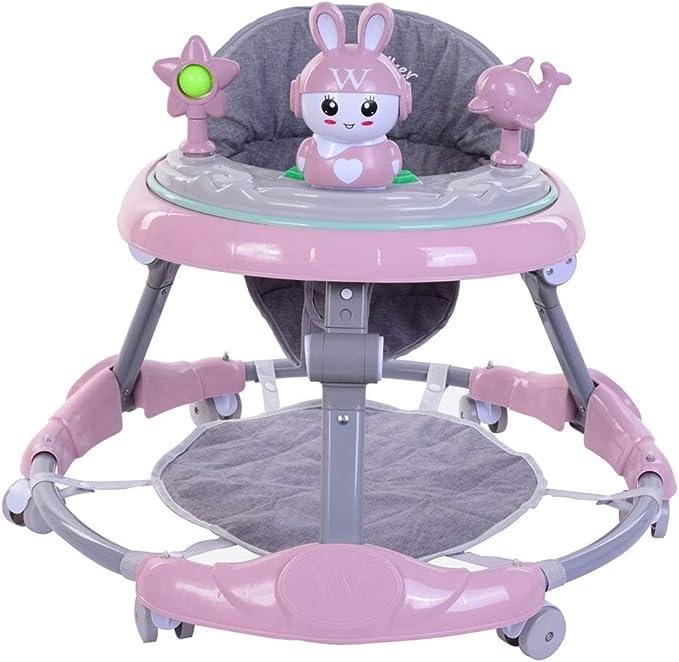 NANUNU Bebé Plegable del niño del Caminante con el pie Cojín Desmontable Conejo Reproductor de música Bandeja Alturas Ajustables Plegable Carro de bebé del niño