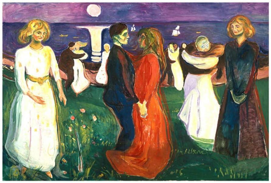Chihie Dance of Life Edvard Munch Pintura al óleo Abstracta sobre Lienzo Arte Carteles e Impresiones Cuadro de Pared para la Sala Cuadros Decor 60cm x90cm Sin Marco