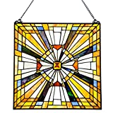 Pharaoh's Jeweled Stained Glass Panel: 17.5 Inch Decorative Window Hanging - Tiffany Style Framed Hangings for the Wall or Windows - Clear - Gold - Yellow and Blue Frank Lloyd Wright Mission Decoration