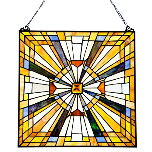(Pharaoh's Jeweled Stained Glass Panel: 17.5 Inch Decorative Window Hanging - Tiffany Style Framed Hangings for the Wall or Windows - Clear, Gold, Yellow and Blue Frank Lloyd Wright Mission Decoration)