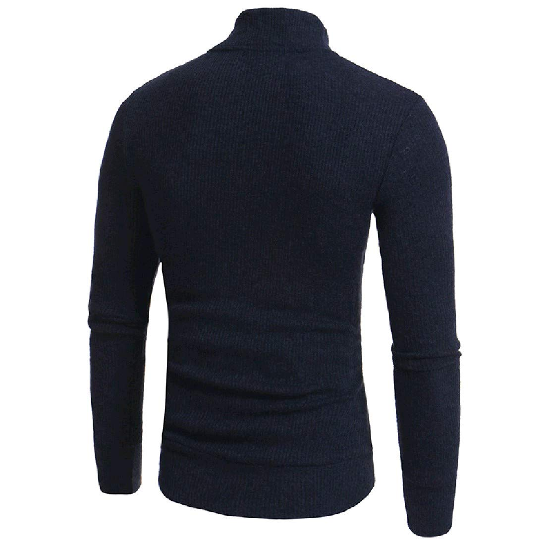 YUNY Mens Turtleneck Knitting Plus Size Warm Pullover Sweater Navy Blue 2XL