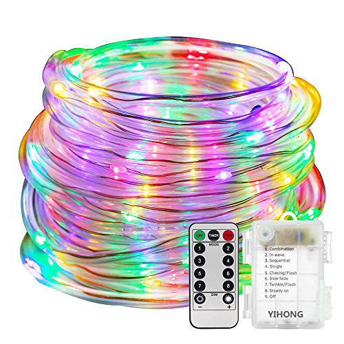 YIHONG Fairy Lights LED Rope Lights Battery Operated String Lights 33ft 8 Mode Fairy Lights Waterproof Firefly Lights with Remote Timer for Christmas Garden Party Indoor Decor-Multicolor ()