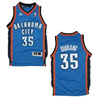 YOUTH NBA Oklahoma City Thunder Durant #35 Pro Quality Athletic Jersey Top with Embroidered Logo & Numbers - Blue