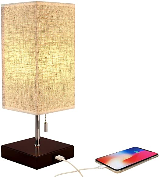 Nightstand lamp with USB Port, Brown Charger Wood Base Bedside Lamps with  Unique Fabric Shade, Bedside Desk Lamp for Bedroom, Living Room, Office