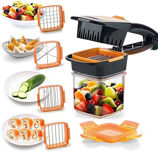 Bolditech Multi-Function 5 in 1 Kitchen Gadgets Stainless Steel Vegetable Fruit Shredders Tool Set Cheese-Onion Chopper-Dicer Cutter