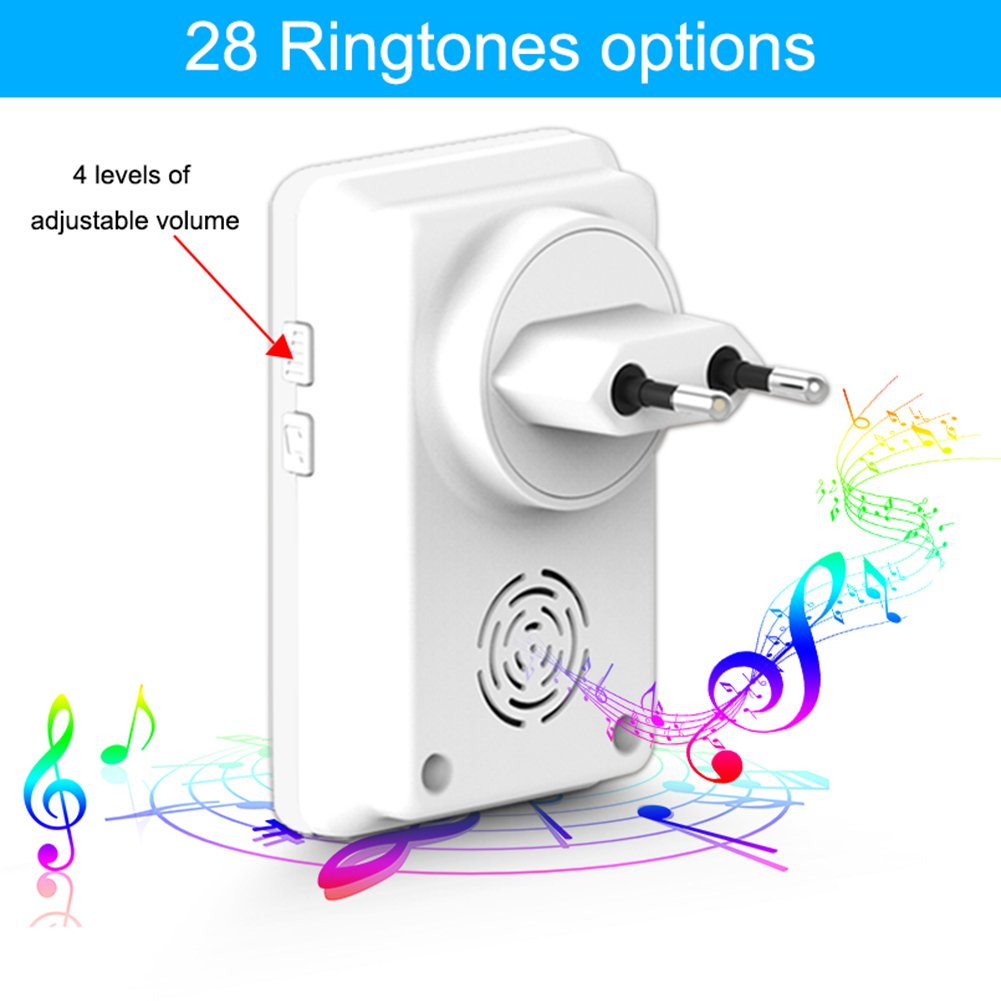 MIAO@LONG Wireless Door Bell With 28 Chimes 4-Level Adjustable Volume Work Over Range 492-Feet(150M) With LED Light Of Receiver,White by MIAO@LONG (Image #2)