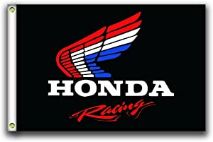 MCCOCO Honda Racing Flags Banner 3X5FT-90X150CM 100% Polyester,Canvas Head with Metal Grommet,Used Both Indoors and Outdoors