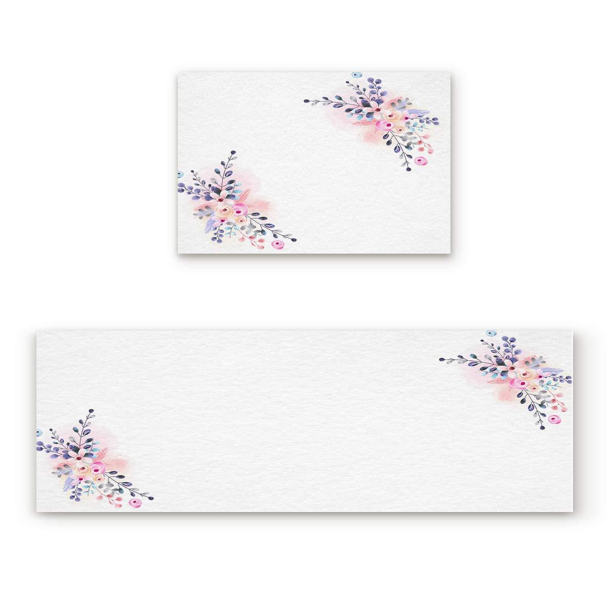 Flower86fiy8286 15.7x23.6In+15.7x47.2In Findamy Non-Slip Indoor Door Mat Entrance Rug Rectangle Absorbent Moisture Floor Carpet for bluee and Purple Butterflies and Flowers Doormat 23.6x35.4In+23.6x70.9In