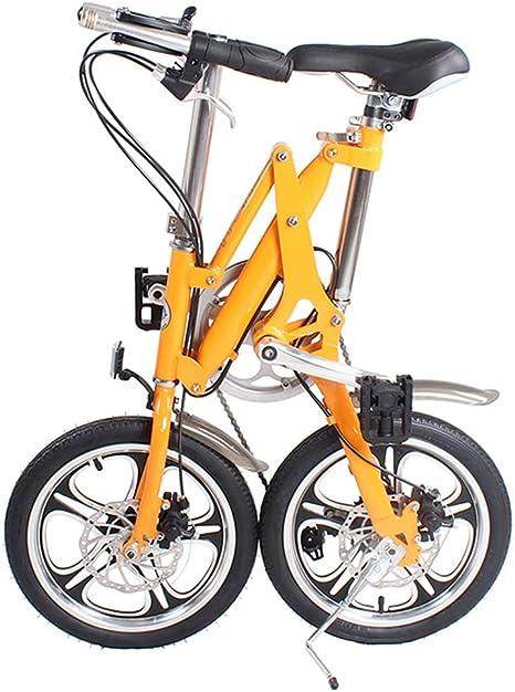 ZHAORLL Aleación De Aluminio De 16 Pulgadas Plegable Bicicleta Mini Adulto De Desplazamiento De Segundos Hombres Y Mujeres Bicicleta Plegable D81 * H99cm,Orange,16Inchwheel: Amazon.es: Deportes y aire libre