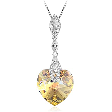 e9c36e69a8e Image Unavailable. Image not available for. Color: Kalapure Sterling Silver  Love Heart and Water Drop Pendant Necklace with Swarovski Elements ...